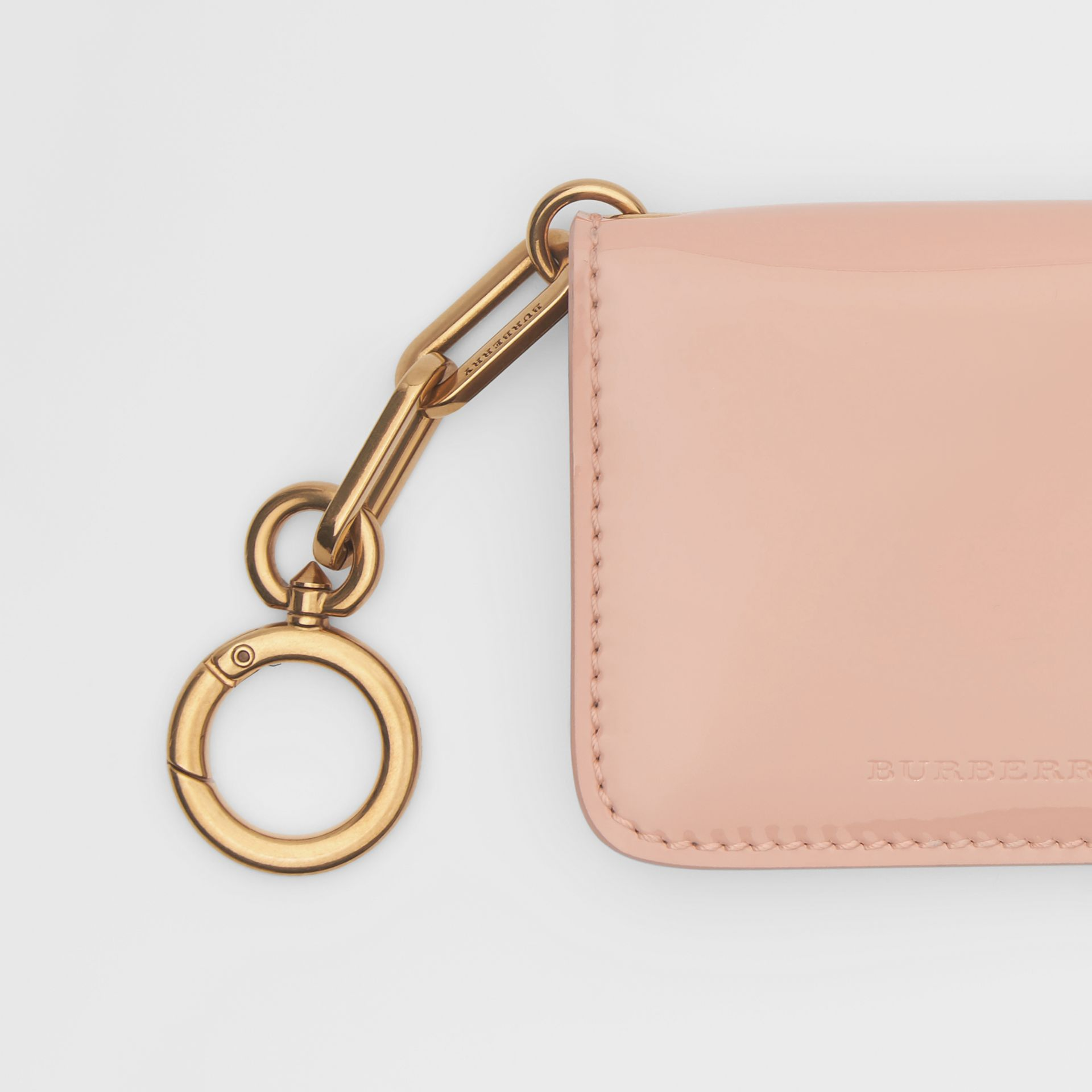 Link Detail Patent Leather ID Card Case Charm in Pale Fawn Pink - Women | Burberry United States - gallery image 1