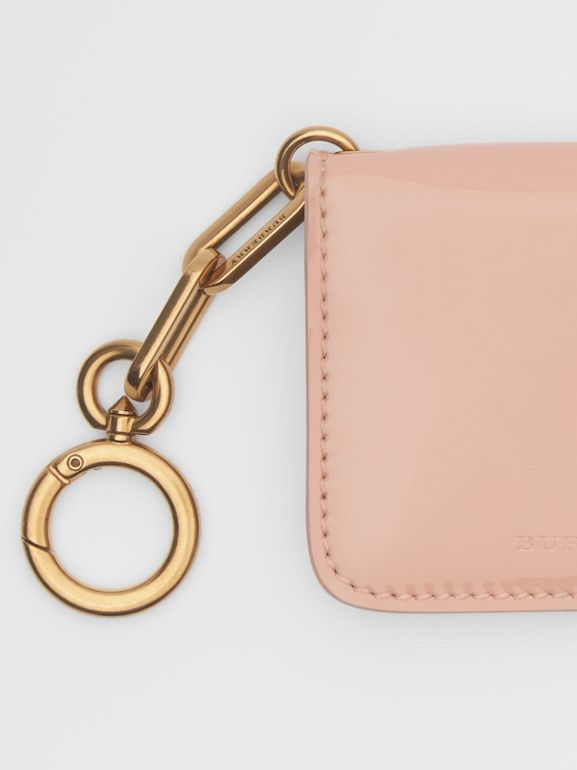 Link Detail Patent Leather ID Card Case Charm in Pale Fawn Pink - Women | Burberry United States - cell image 1