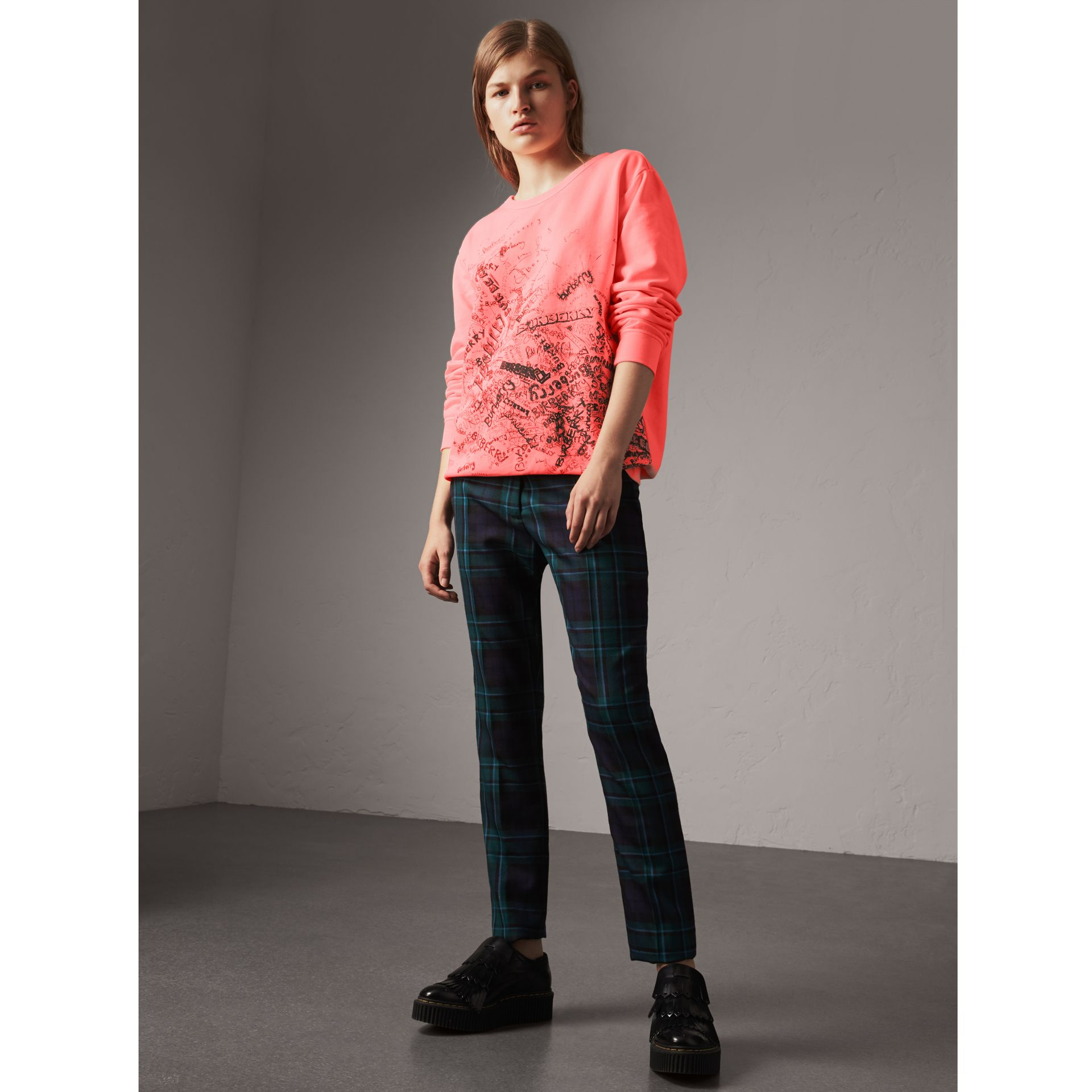 Doodle Print Cotton Sweatshirt in Bright Clementine - Women | Burberry - gallery image 0