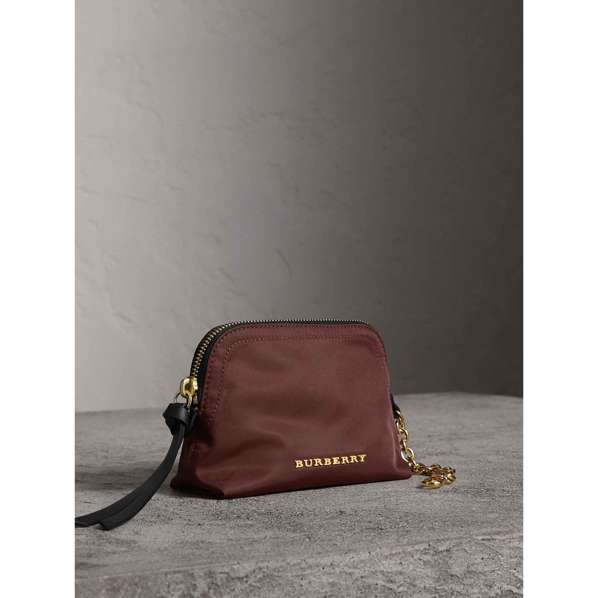 Small Zip-top Technical Nylon Pouch in Burgundy Red - Women | Burberry - gallery image 6