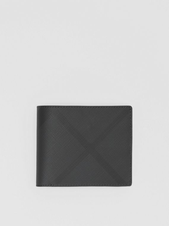 London Check Bifold Wallet with ID Card Case in Dark Charcoal