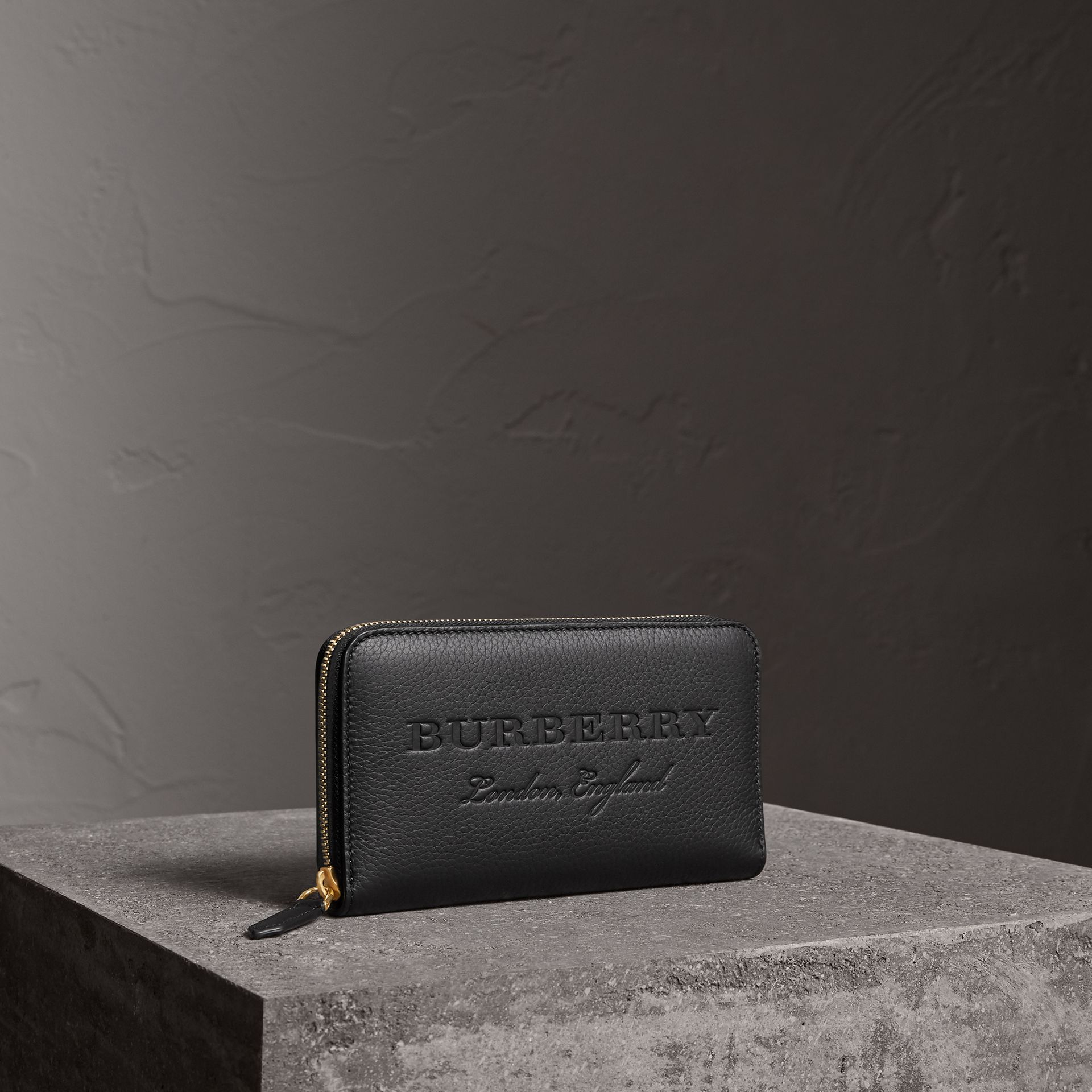Embossed Leather Ziparound Wallet in Black | Burberry Canada - gallery image 0