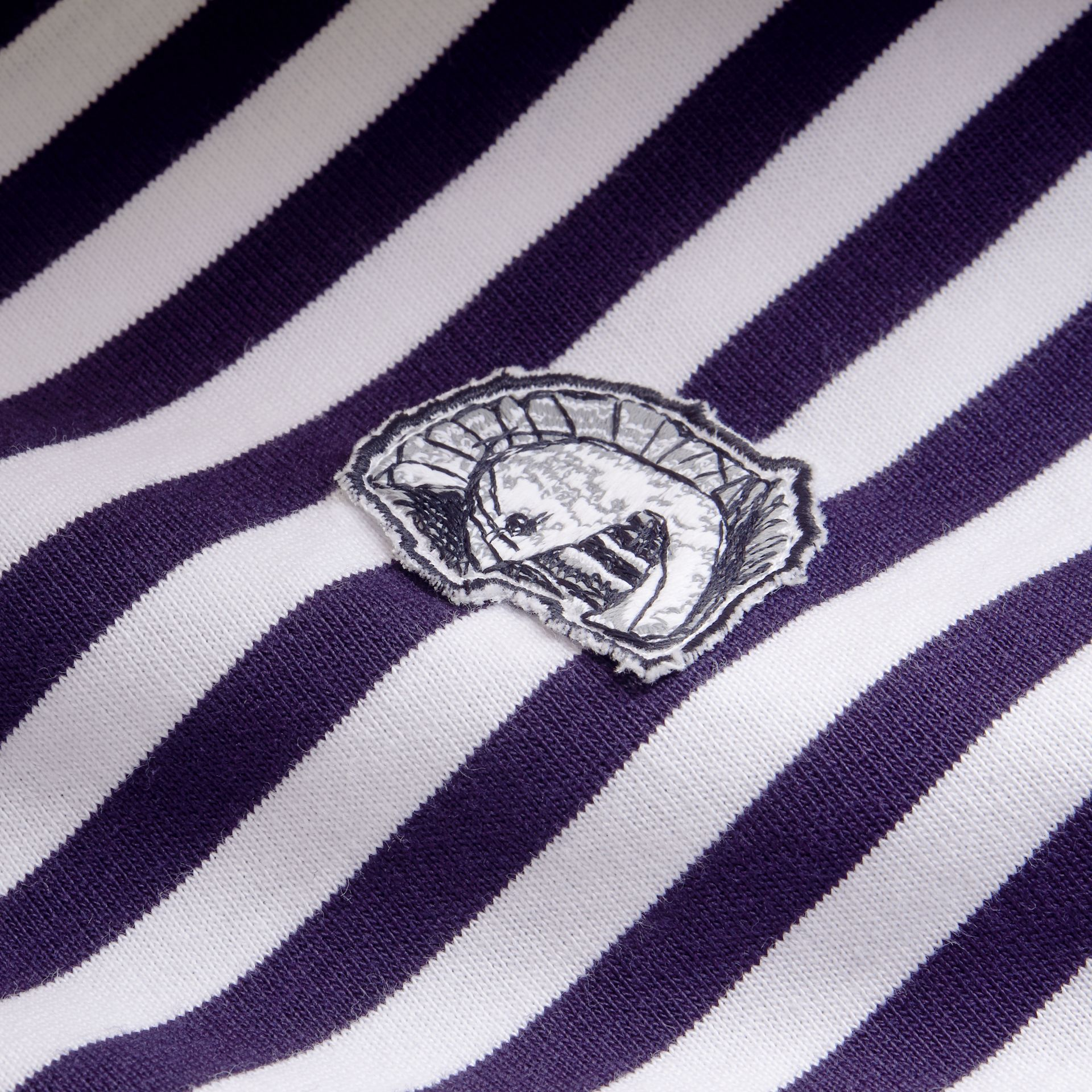 Breton Stripe Cotton T-shirt with Pallas Helmet Motif - gallery image 2