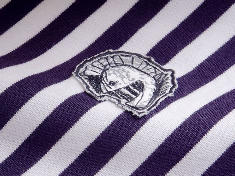 Breton Stripe Cotton T-shirt with Pallas Helmet Motif - cell image 1