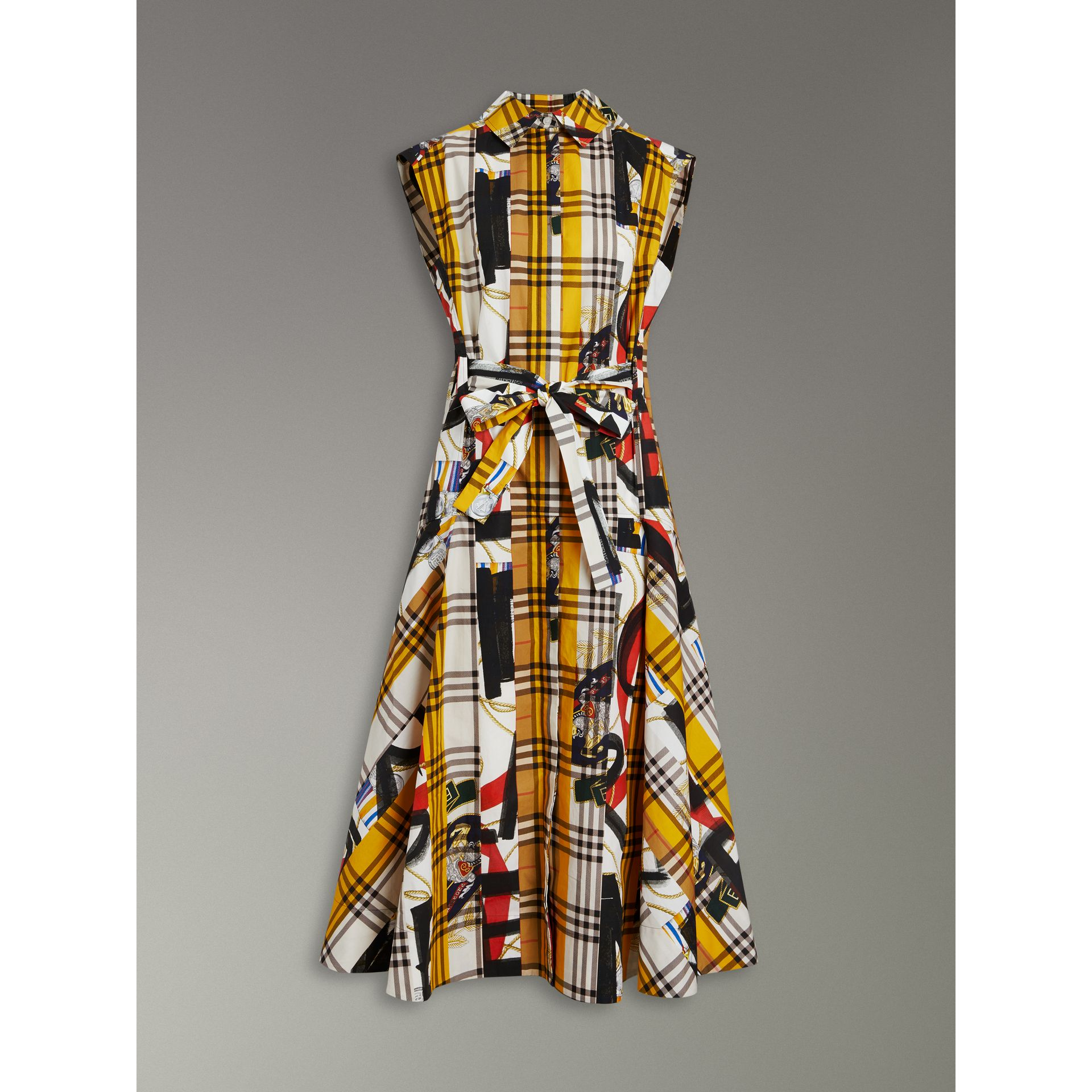 Archive Scarf Print Check Cotton Shirt Dress in Multicolour - Women | Burberry United Kingdom - gallery image 3
