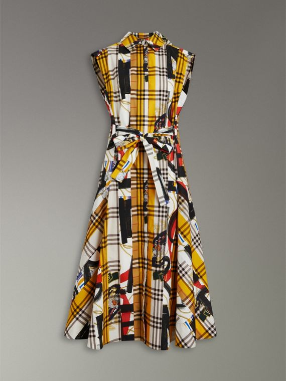 Archive Scarf Print Check Cotton Shirt Dress in Multicolour - Women | Burberry - cell image 3