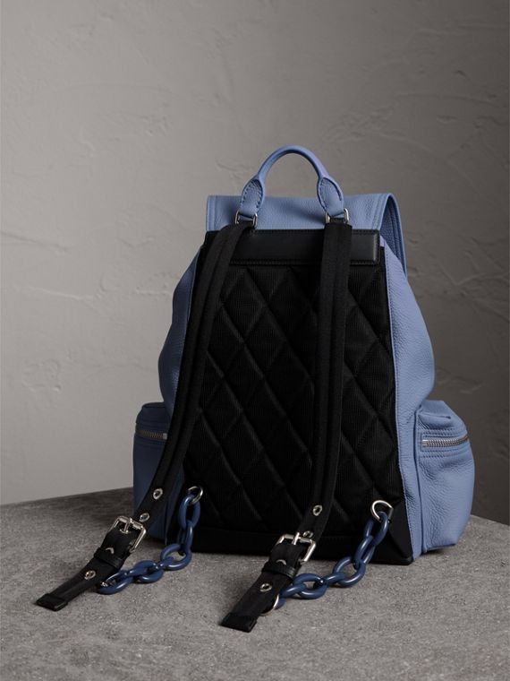 The Large Rucksack in Deerskin with Beasts Motif in Slate Blue - Women | Burberry - cell image 3