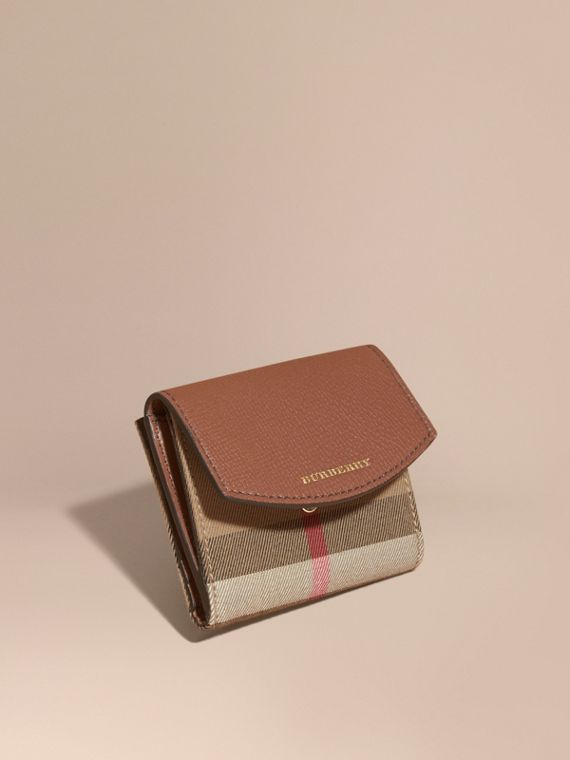 House Check and Leather Wallet in Tan - Women | Burberry Australia
