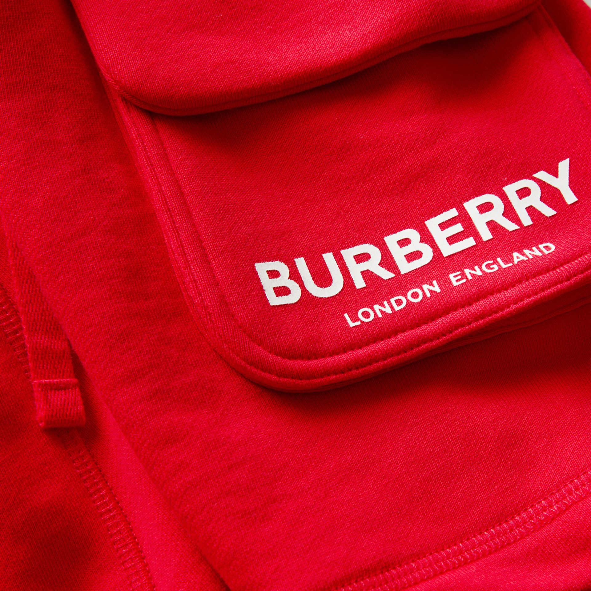 Logo Print Cotton Drawcord Shorts in Bright Red | Burberry United Kingdom - gallery image 1