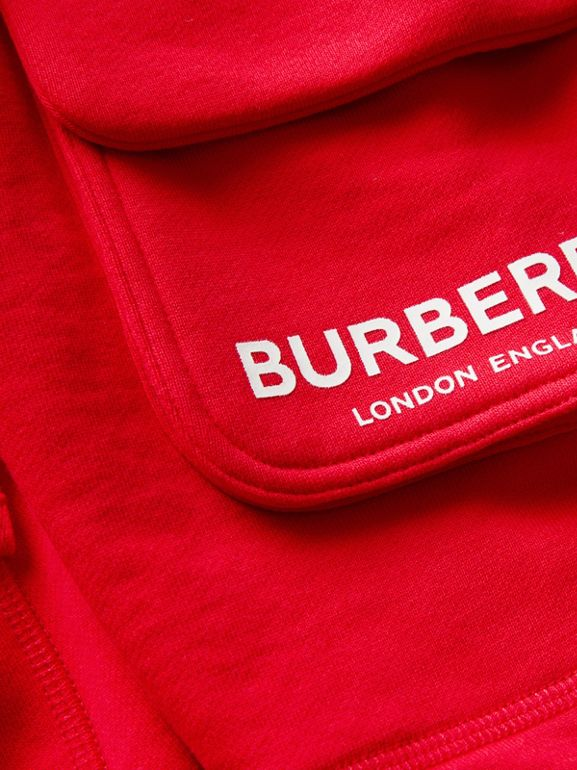 Logo Print Cotton Drawcord Shorts in Bright Red | Burberry - cell image 1