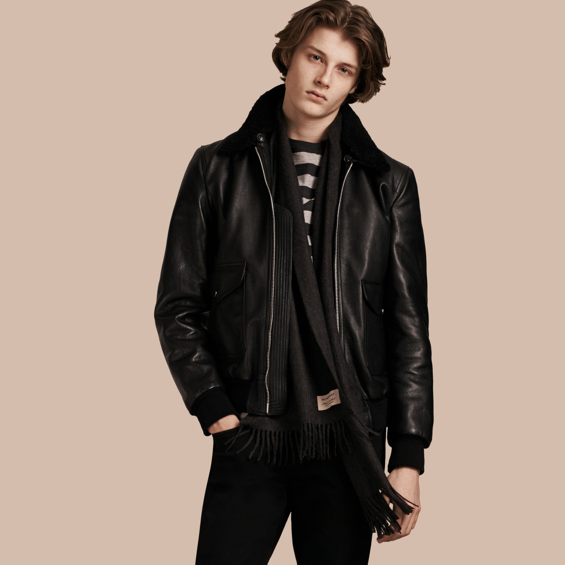 Black Leather Jacket with Detachable Shearling Collar - gallery image 1