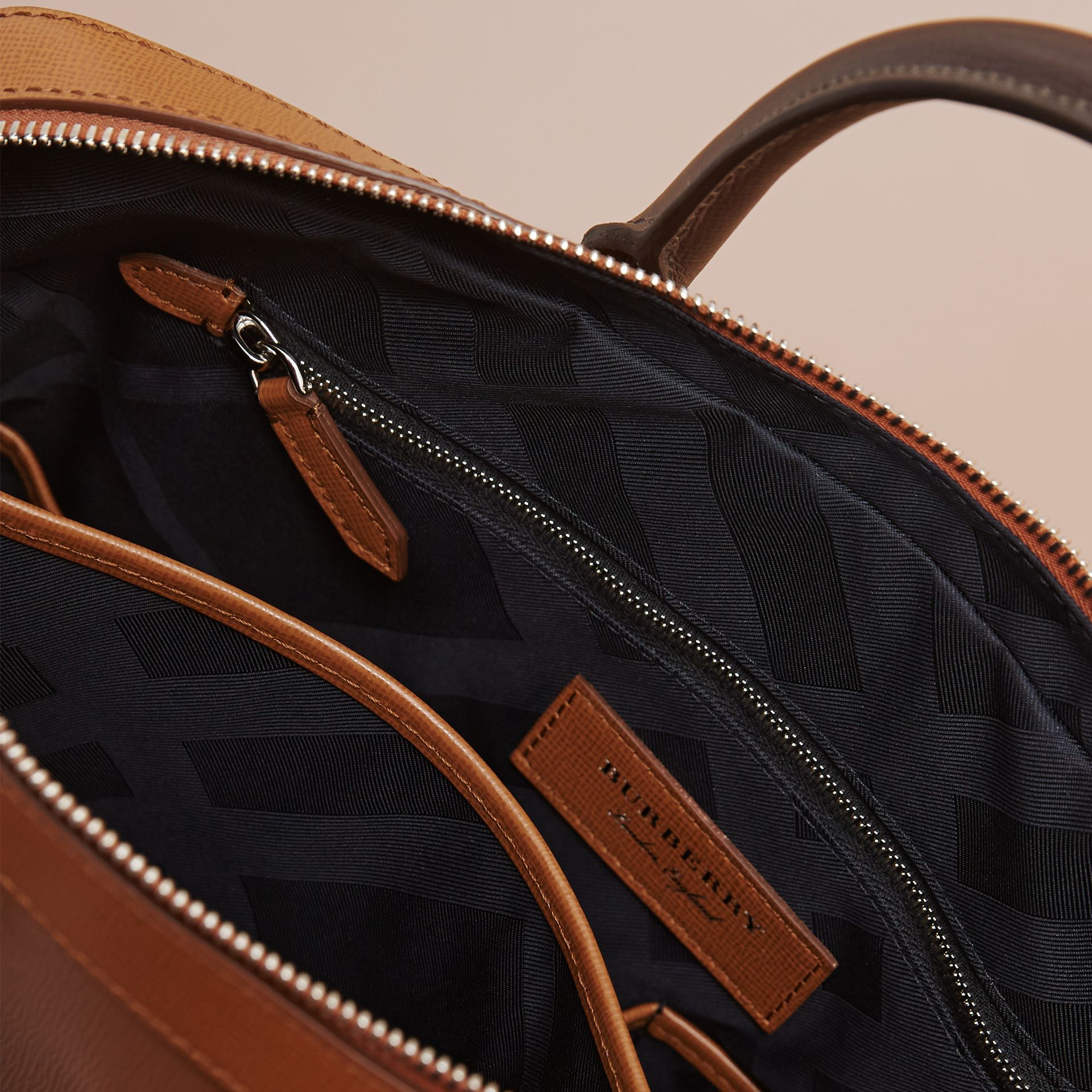 London Leather Briefcase in Tan/chocolate - Men | Burberry - gallery image 6