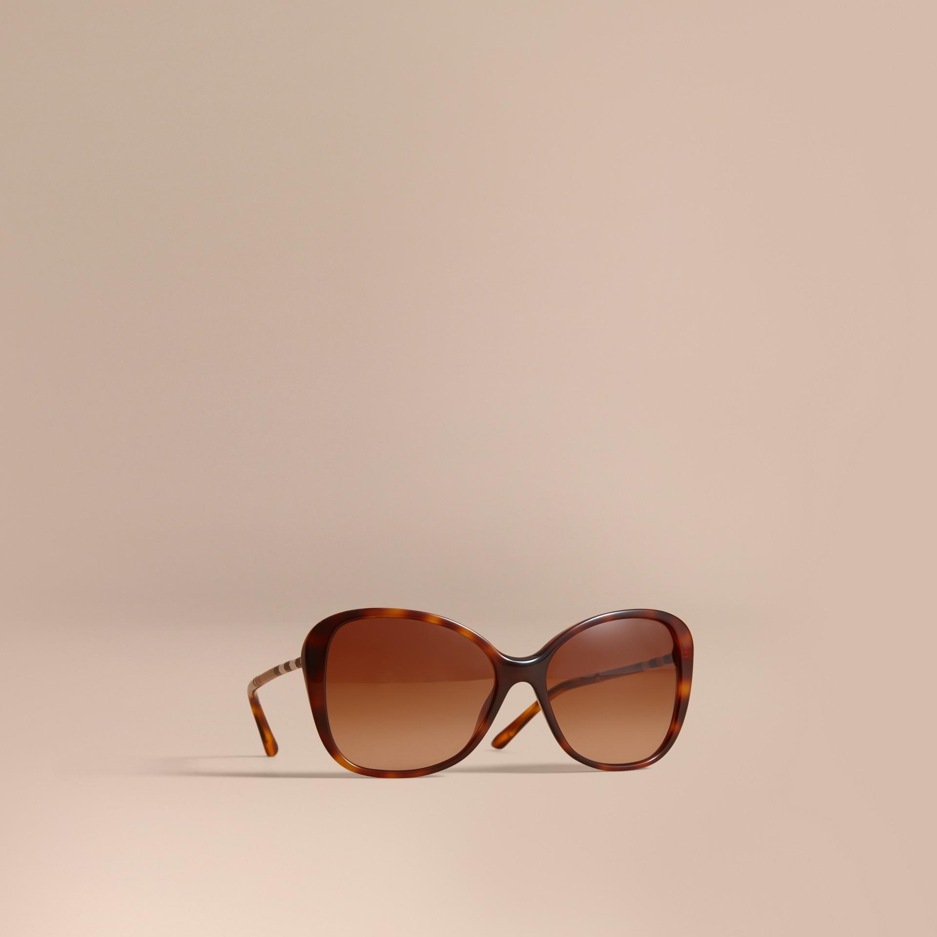 Check Detail Butterfly Frame Sunglasses Tortoiseshell - gallery image 1