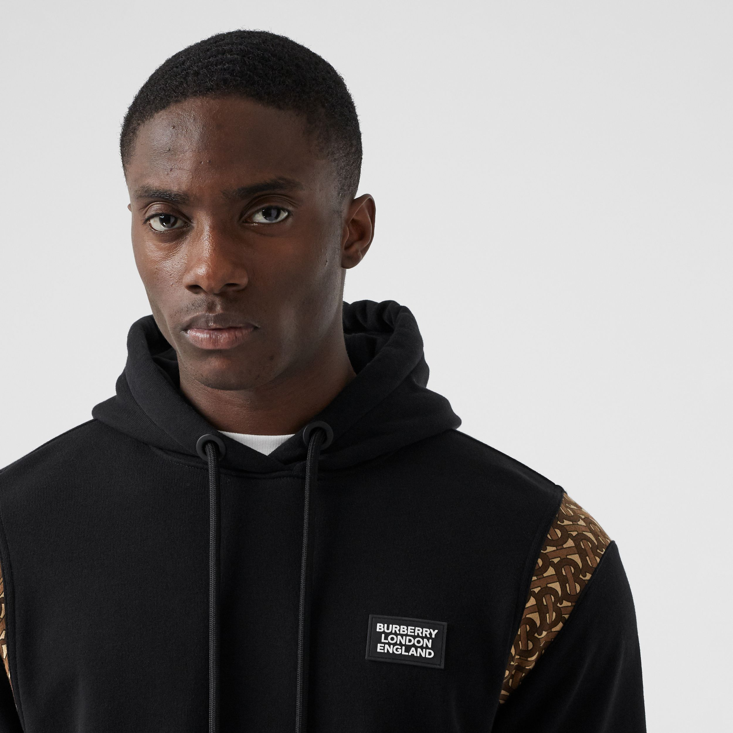 Monogram Print Panel Cotton Hoodie in Black - Men | Burberry - 2
