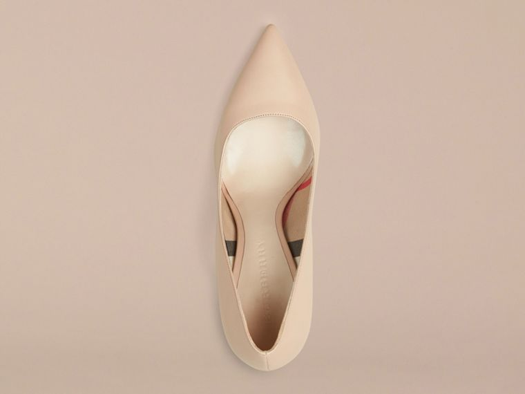 Nude Hand-Painted Point-Toe Leather Pumps - cell image 2
