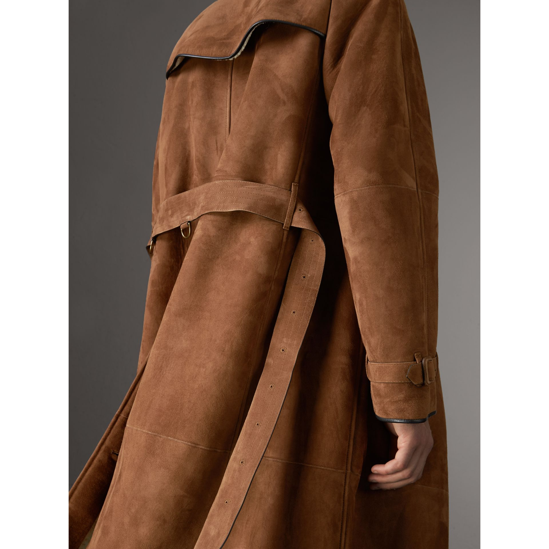 Suede and Shearling Trench Coat in Tan - Men | Burberry United States - gallery image 4