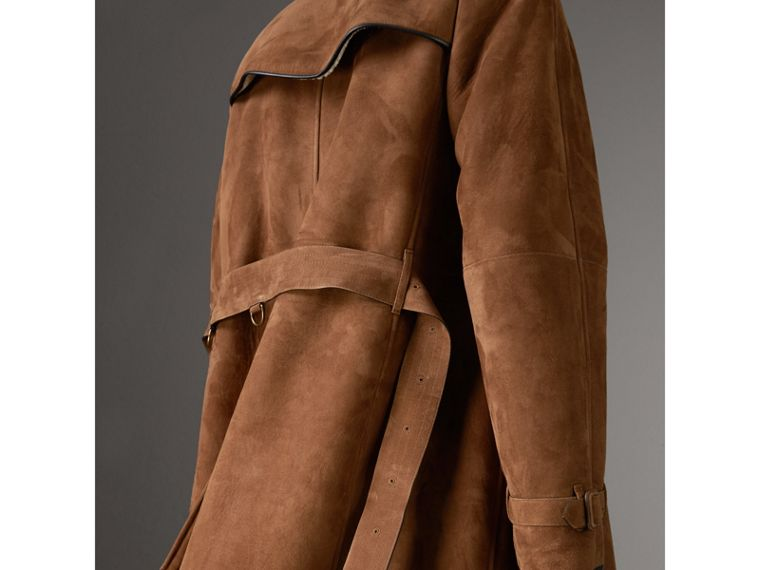 Suede and Shearling Trench Coat in Tan - Men | Burberry - cell image 4