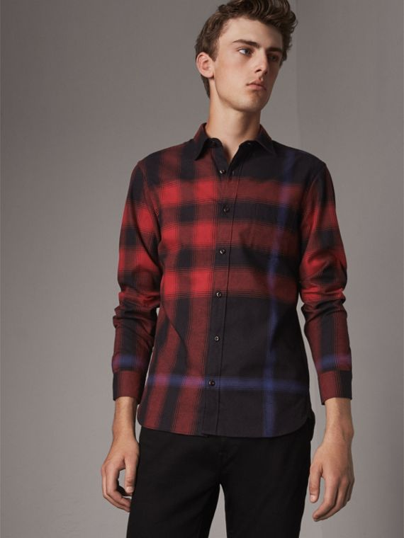 Ombré Check Cotton Flannel Shirt in Crimson Red