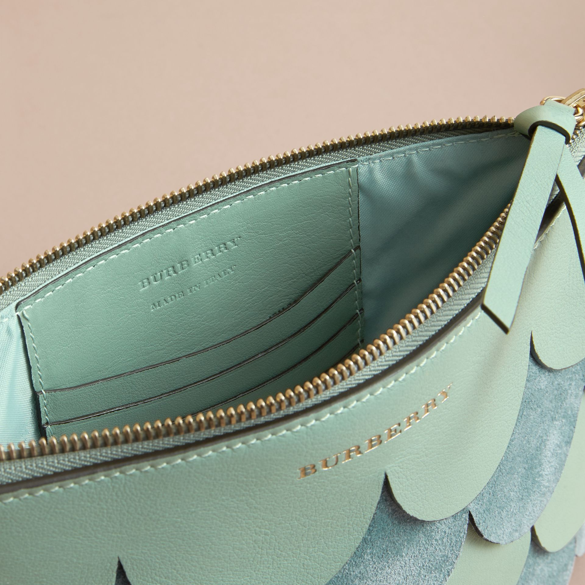 Two-tone Scalloped Leather and Suede Clutch Bag in Celadon Green - Women | Burberry - gallery image 6