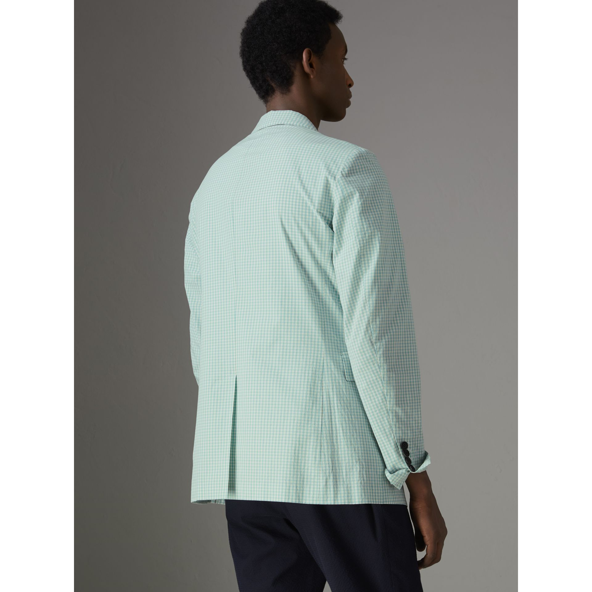 Slim Fit Gingham Cotton Tailored Jacket in Pale Opal - Men | Burberry United States - gallery image 2