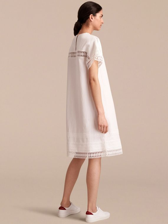 Short-sleeved Macramé Lace Detail Silk Blend Dress - cell image 2