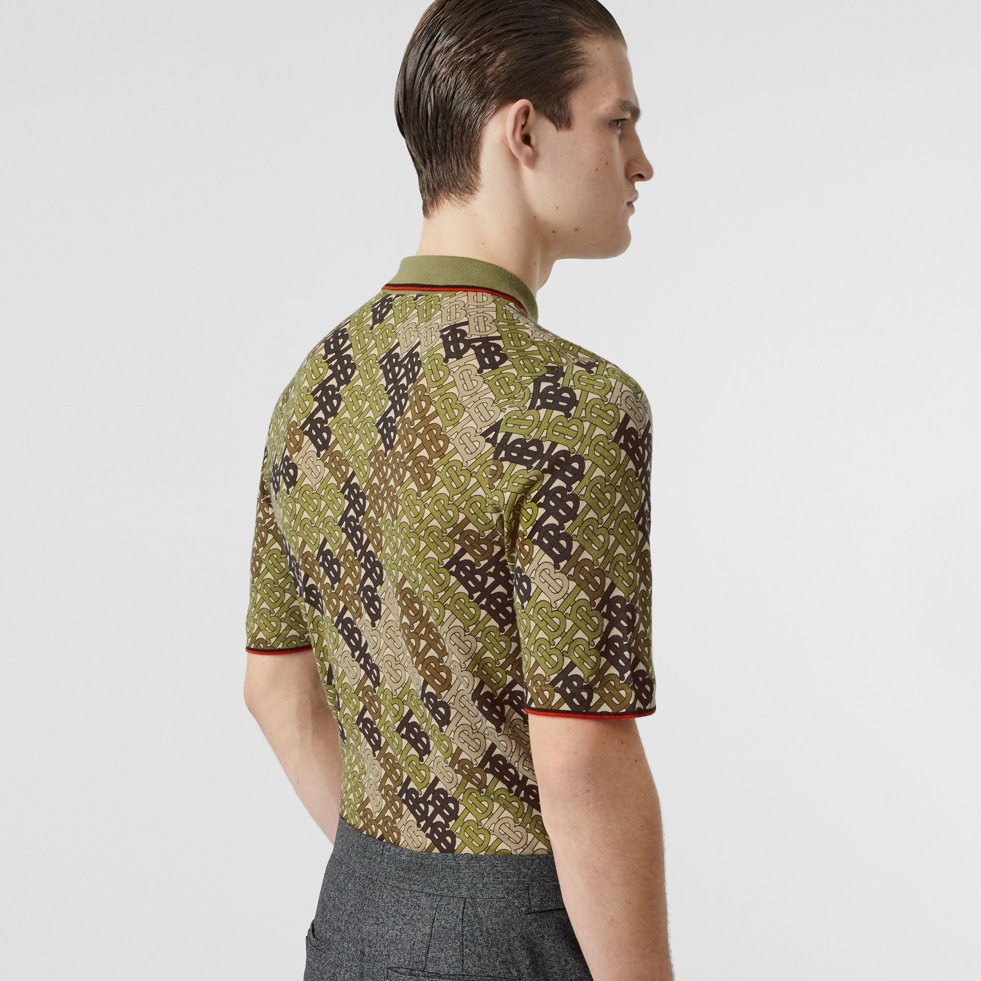 Monogram Print Tipped Merino Wool Polo Shirt in Khaki - Men | Burberry - gallery image 2