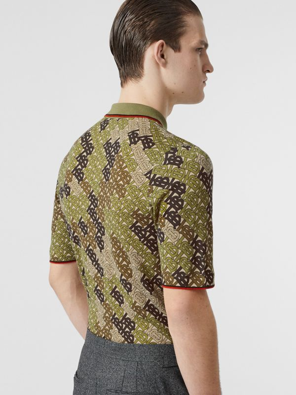 Monogram Print Tipped Merino Wool Polo Shirt in Khaki - Men | Burberry - cell image 2