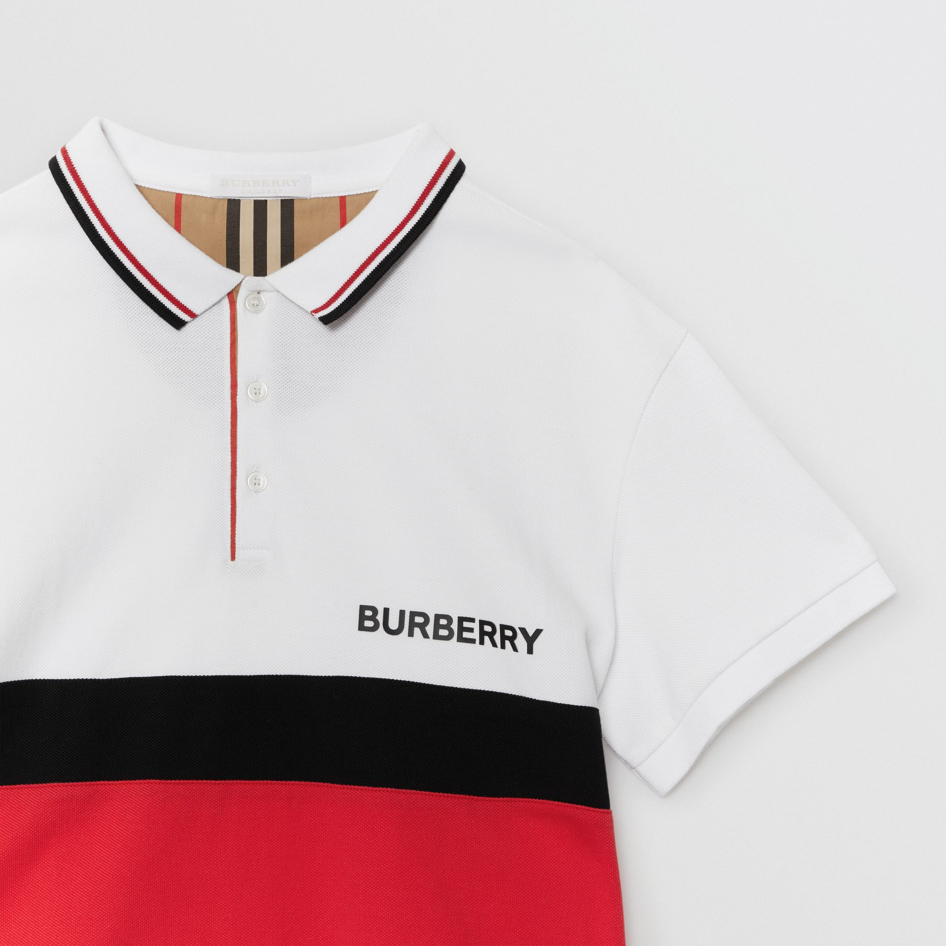 Stripe Panel Cotton Piqué Polo Shirt in White | Burberry - gallery image 4