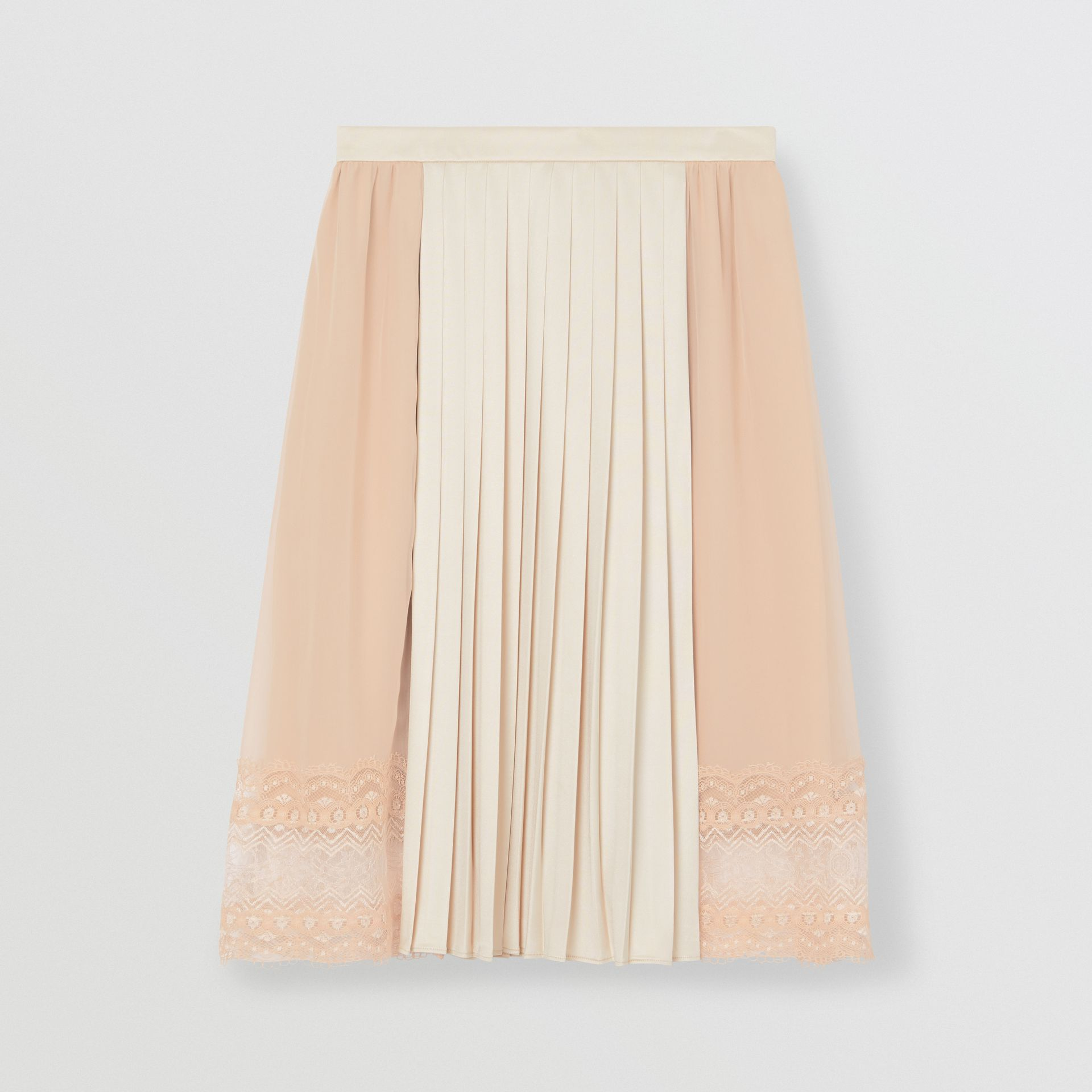 Lace Detail Silk Panel Pleated Skirt in Soft Peach - Women | Burberry - gallery image 3