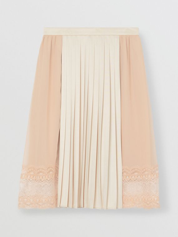 Lace Detail Silk Panel Pleated Skirt in Soft Peach