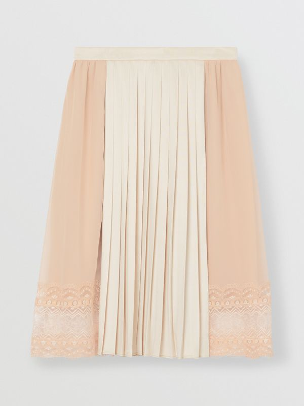 Lace Detail Silk Panel Pleated Skirt in Soft Peach - Women | Burberry - cell image 3