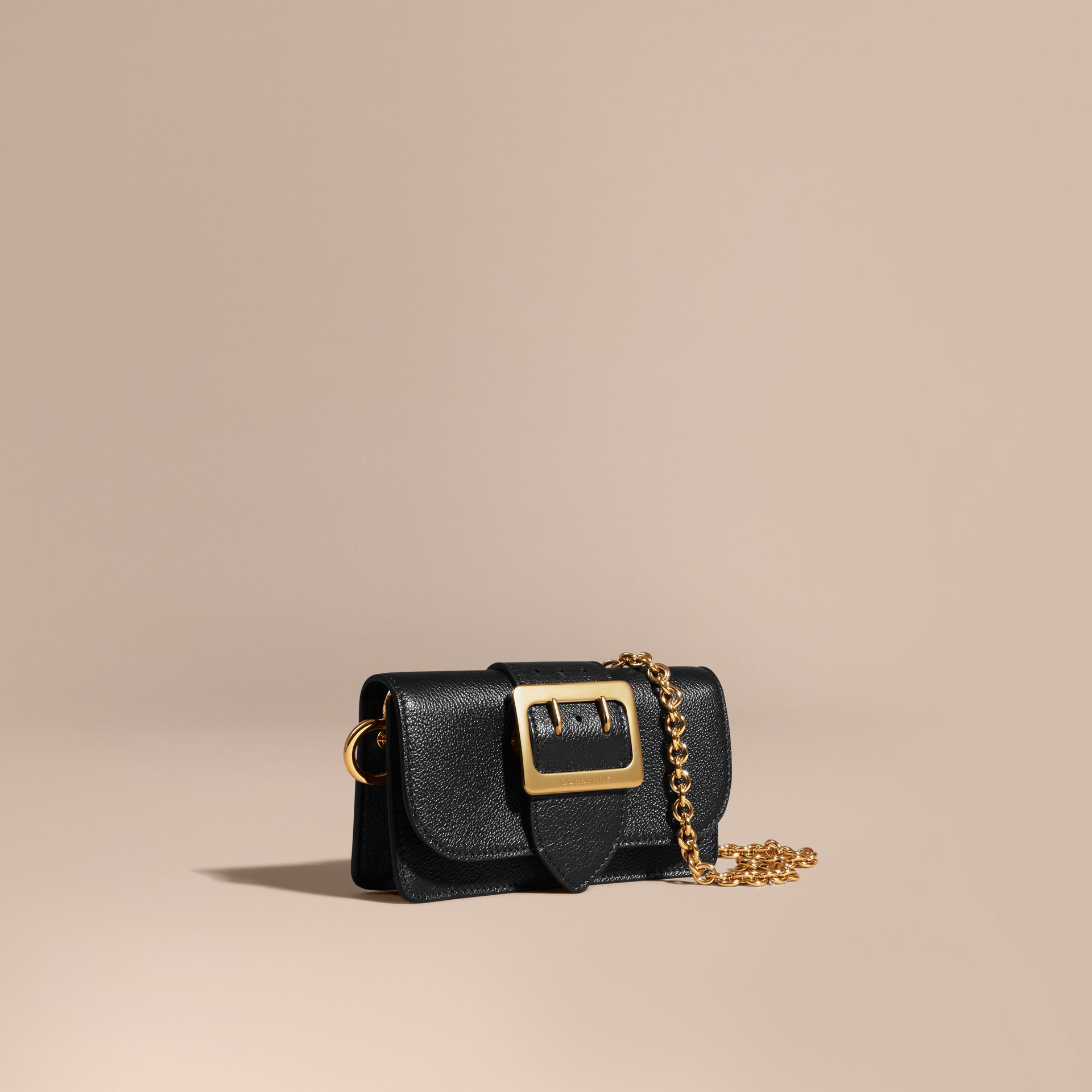 Black The Mini Buckle Bag in Grainy Leather Black - gallery image 1