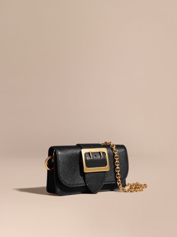 Mini sac The Buckle en cuir grainé Noir