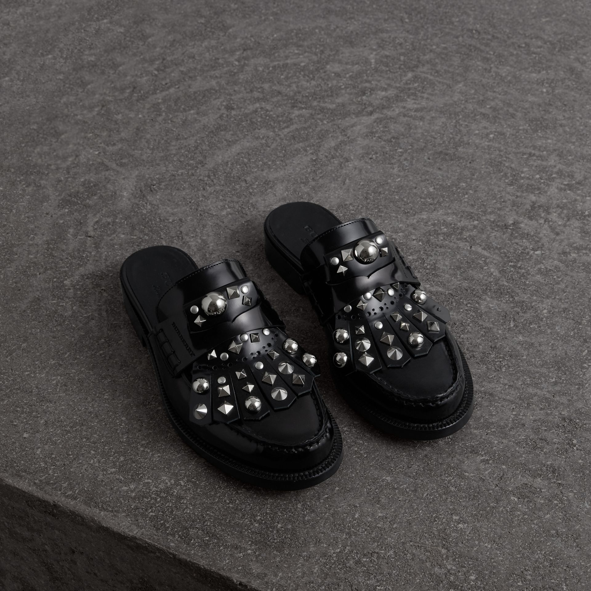 Studded Fringe Patent Leather Mules in Black - Women | Burberry Singapore - gallery image 0