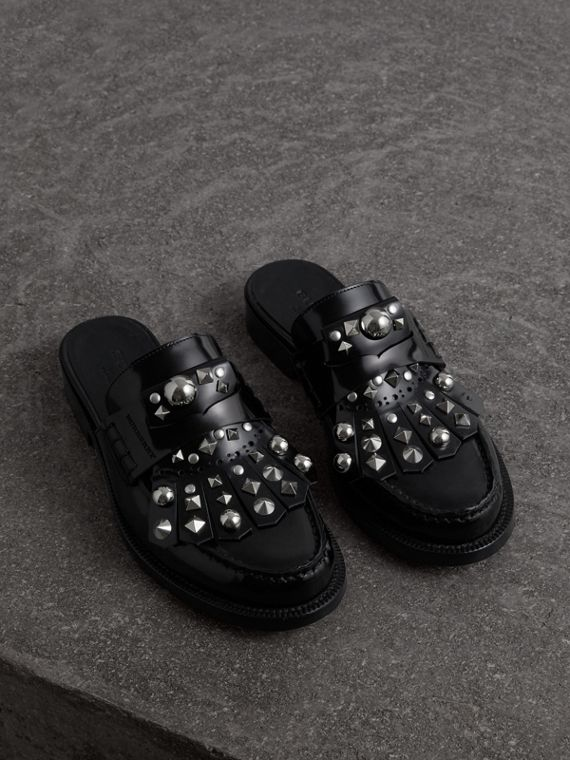 Studded Fringe Patent Leather Mules in Black