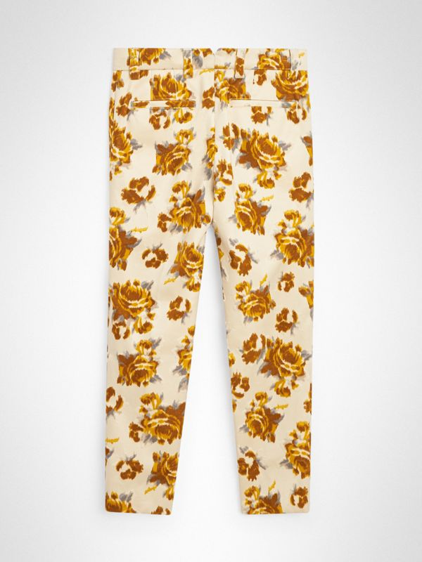 Floral Velvet Jacquard Trousers in Mustard Pattern | Burberry Singapore - cell image 3