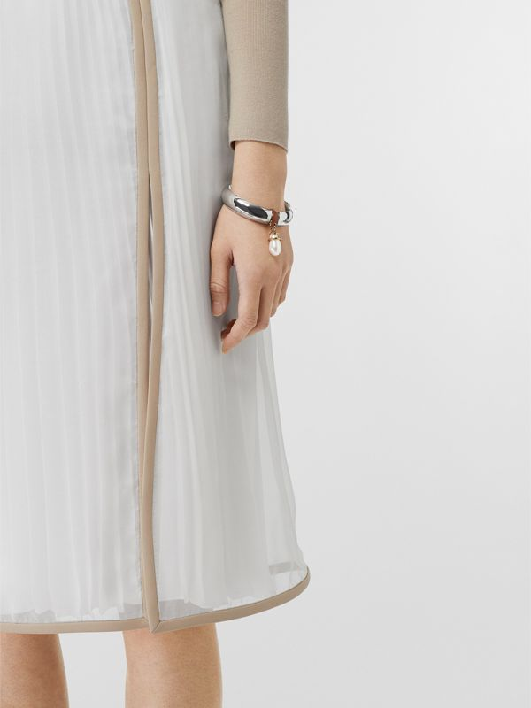 Faux Pearl Detail Palladium-plated Bangle in Palladio - Women | Burberry Singapore - cell image 2