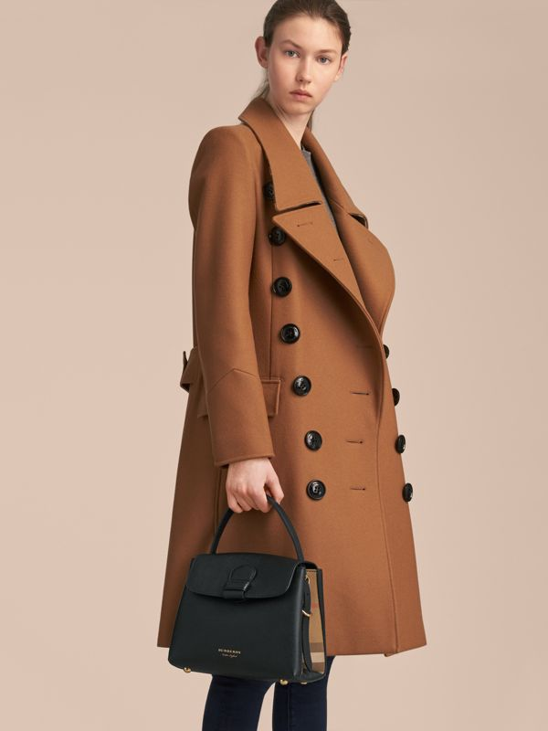 Small Grainy Leather and House Check Tote Bag in Black - Women | Burberry United States - cell image 3