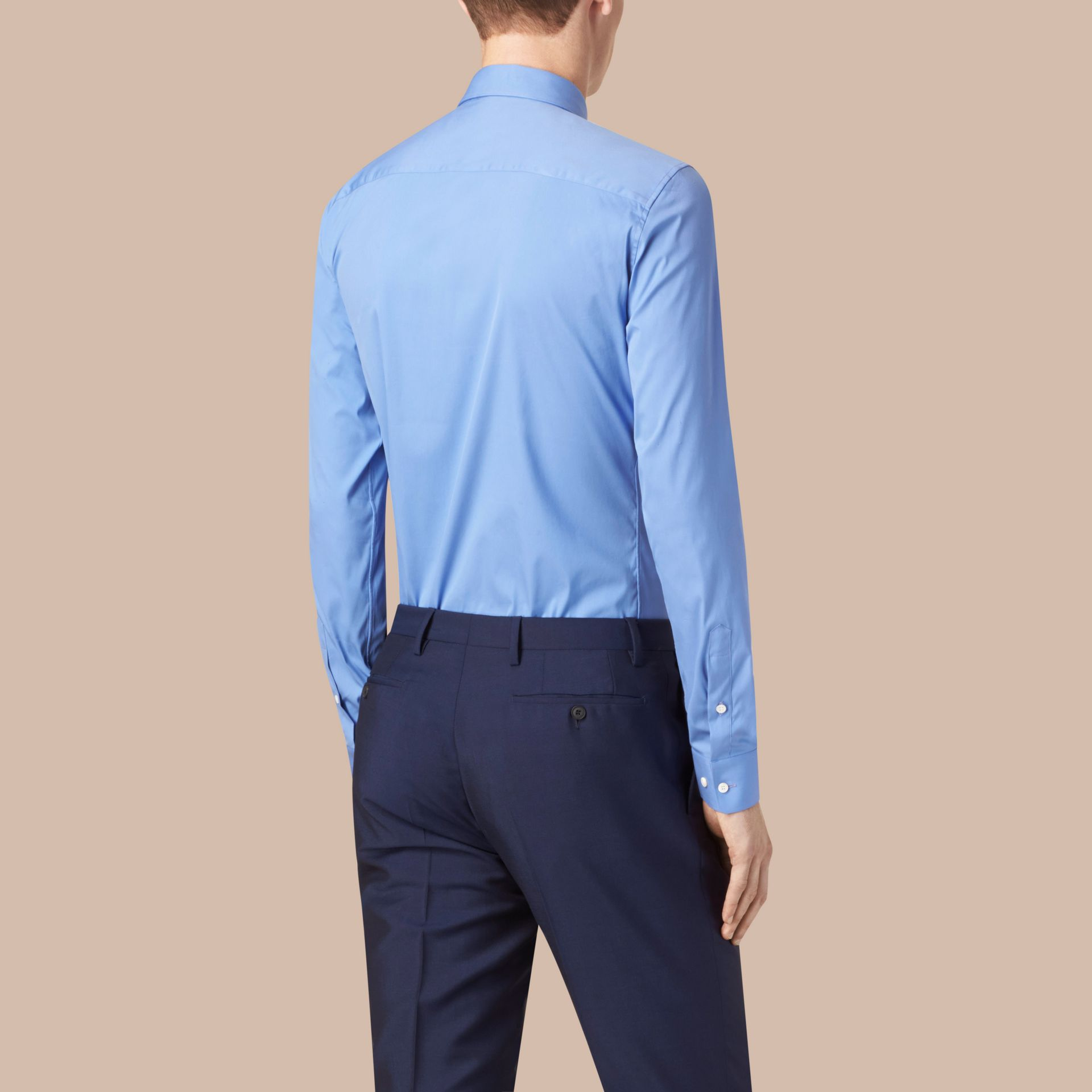Modern Fit Cotton Poplin Shirt Mid Blue - gallery image 3