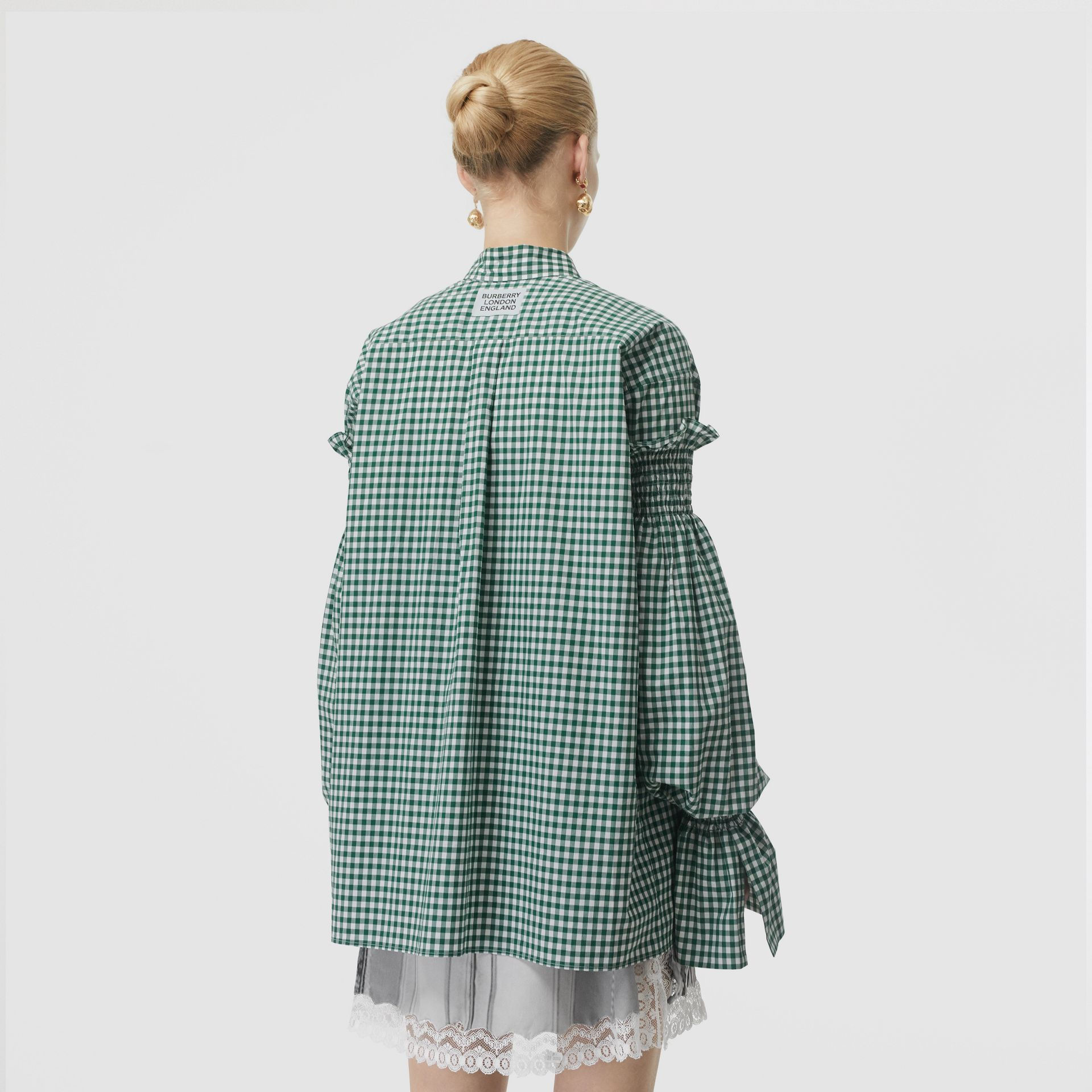 Puff-sleeve Gingham Cotton Oversized Shirt in White/green - Women | Burberry - gallery image 2