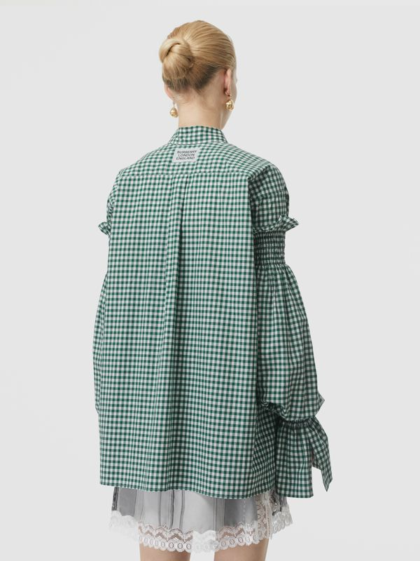 Gathered Sleeve Gingham Cotton Shirt in White/green - Women | Burberry - cell image 2