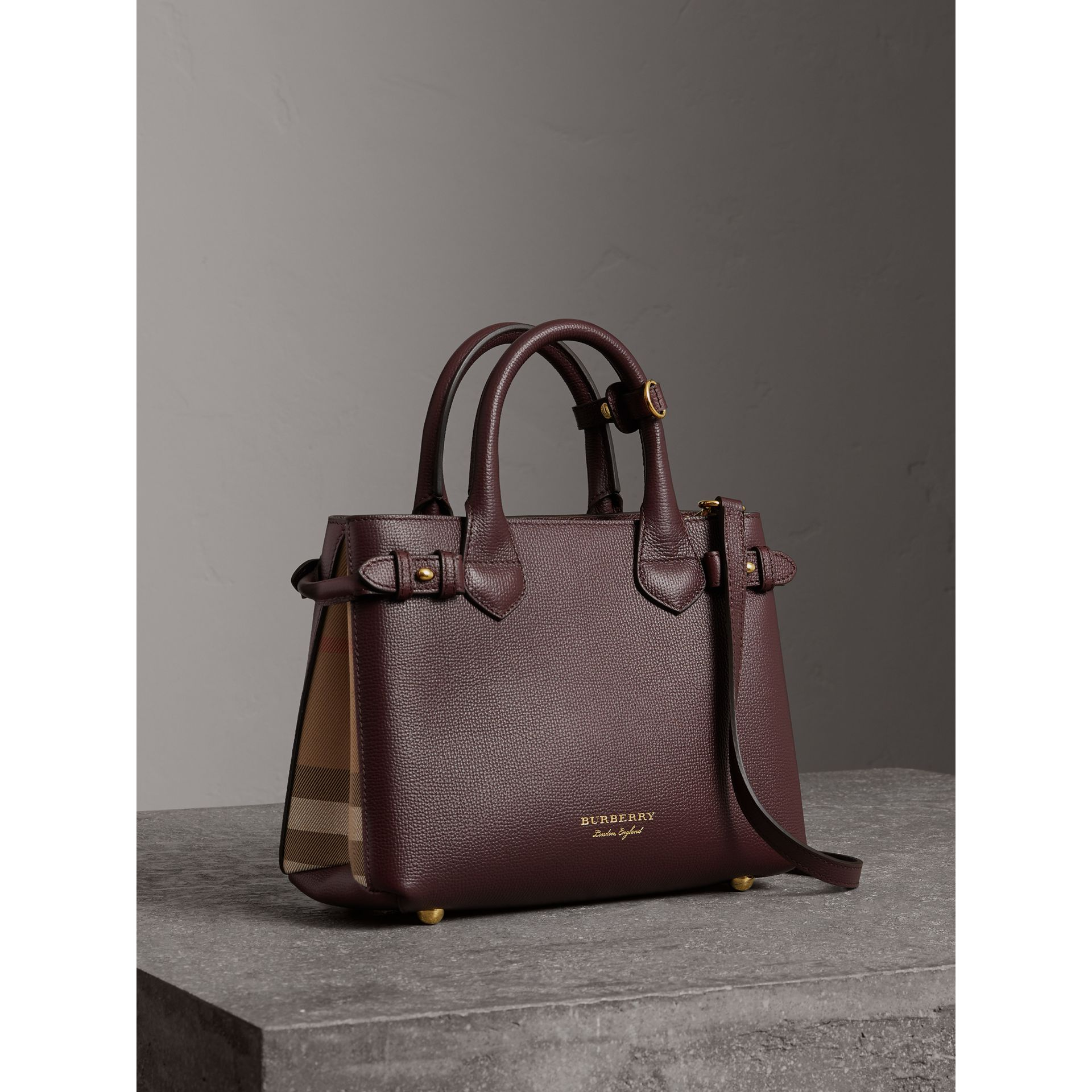 The Small Banner in Leather and House Check in Mahogany Red - Women | Burberry United Kingdom - gallery image 0