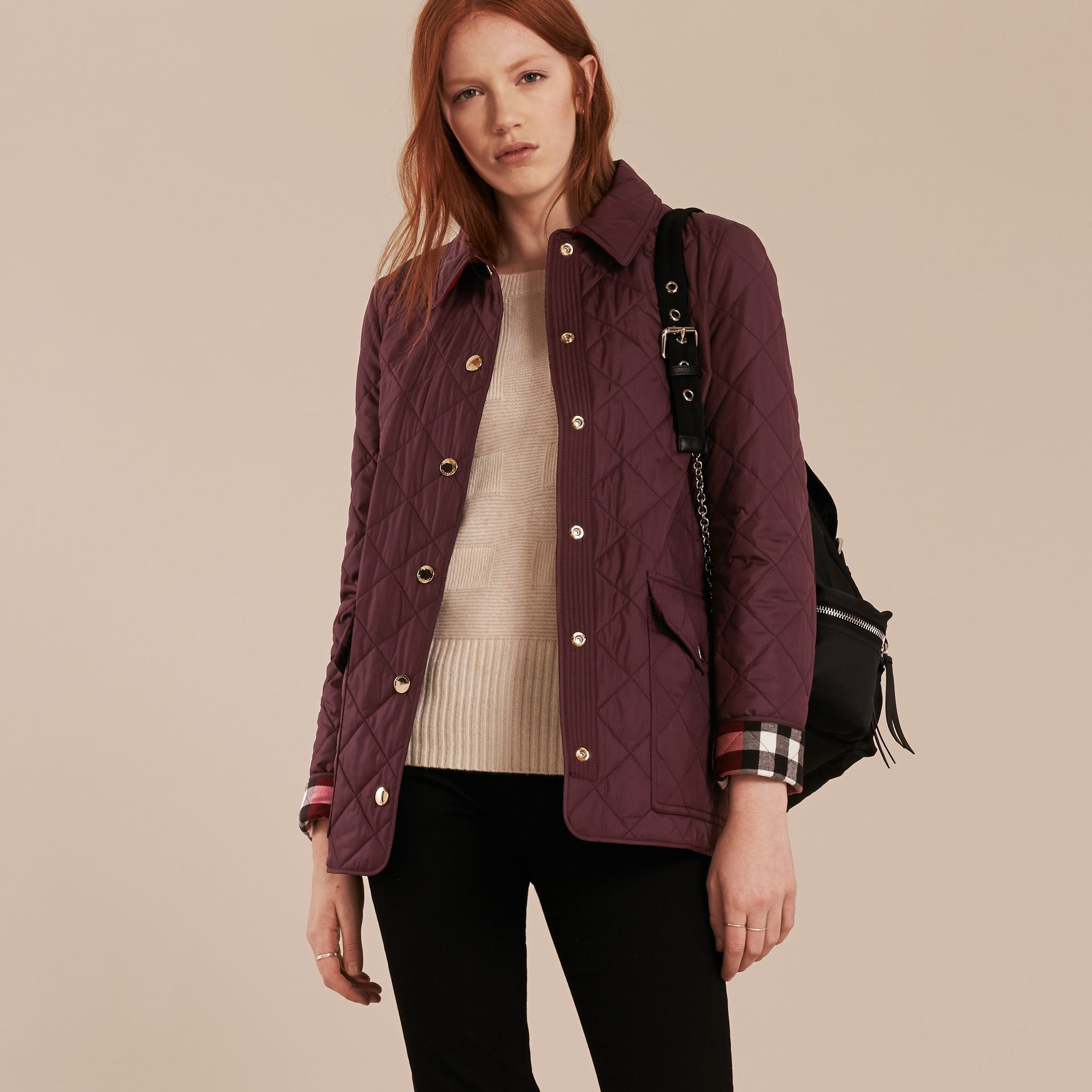 Burgundy Check Detail Diamond Quilted Jacket Burgundy - gallery image 7