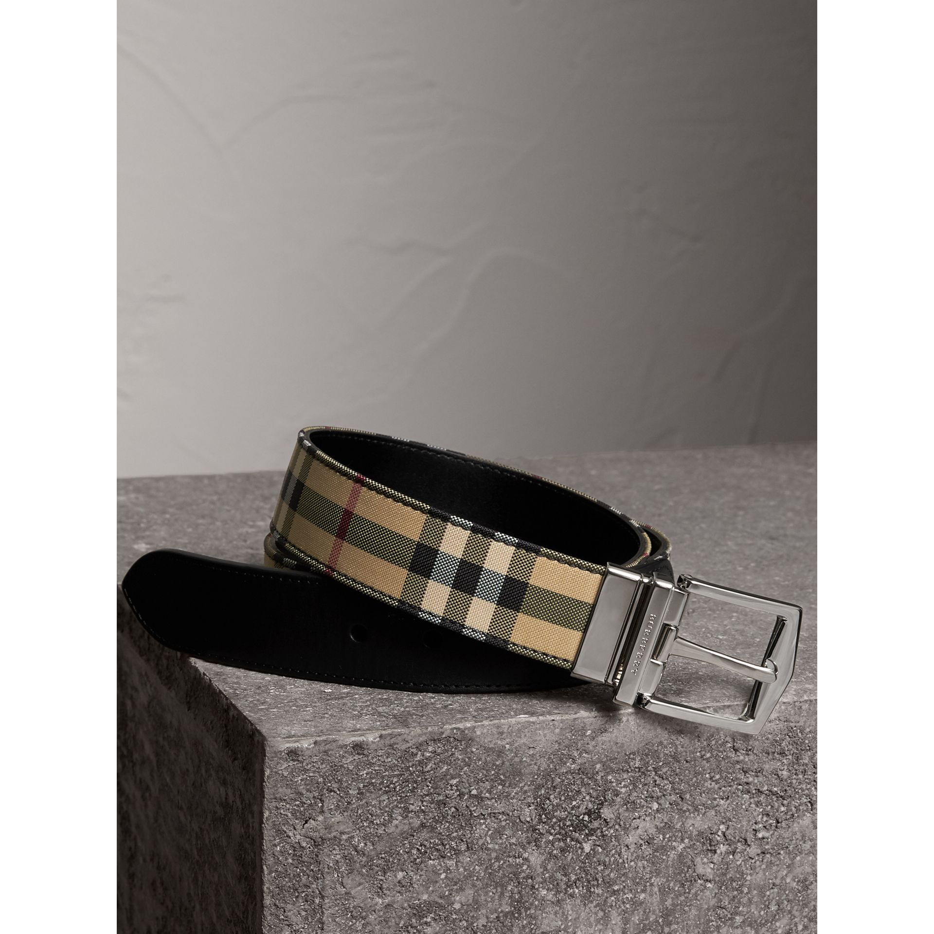 Reversible Horseferry Check and Leather Belt in Black - Men | Burberry - gallery image 0
