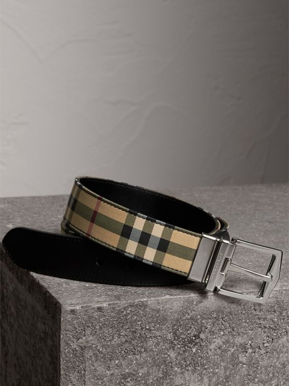 Reversible Horseferry Check and Leather Belt in Black