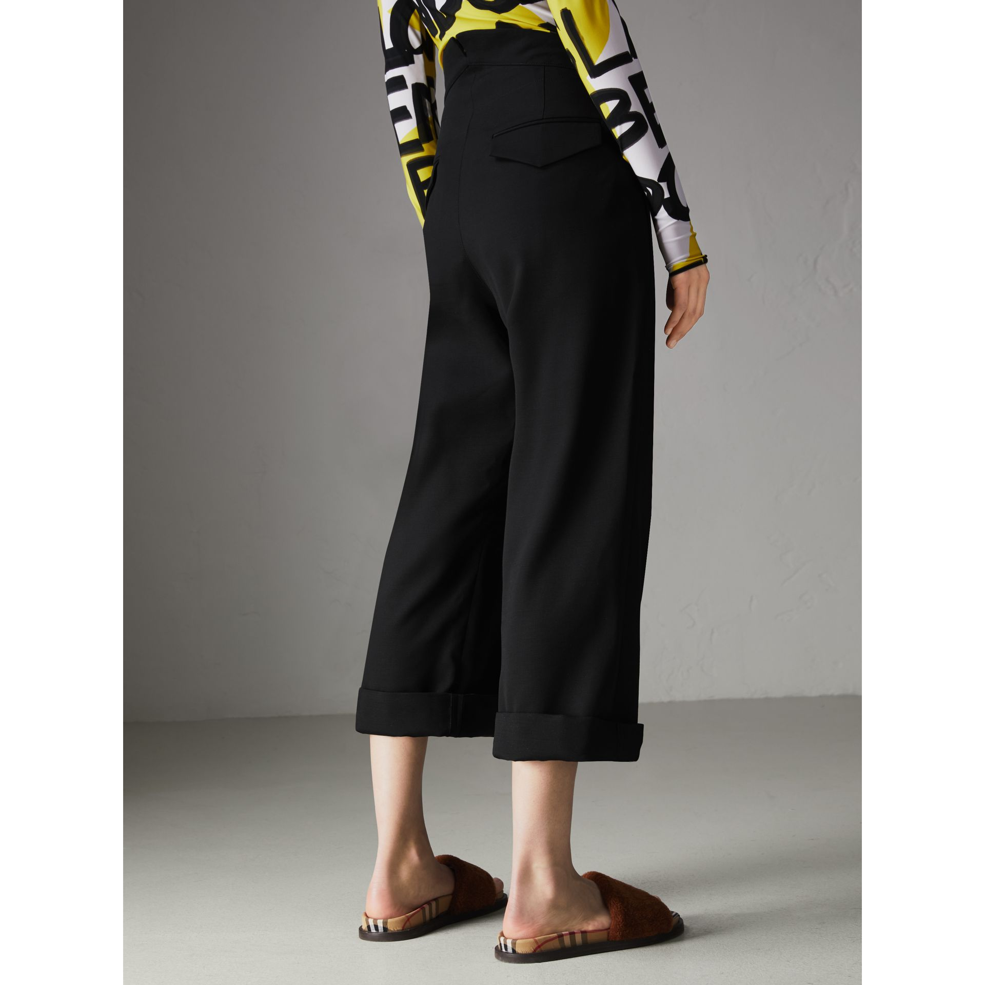 Wool Silk Cropped Tailored Trousers in Black - Women | Burberry - gallery image 2