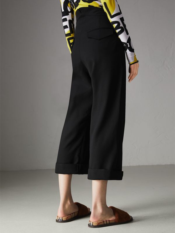 Wool Silk Cropped Tailored Trousers in Black - Women | Burberry Canada - cell image 2