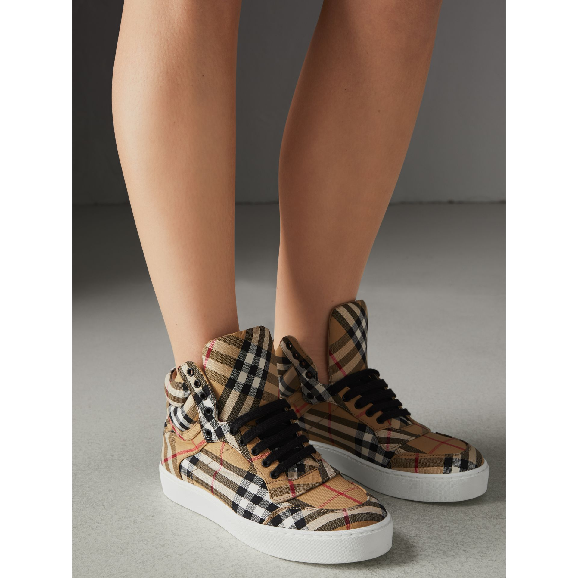 Vintage Check Cotton High-top Sneakers in Antique Yellow - Women | Burberry Hong Kong - gallery image 2