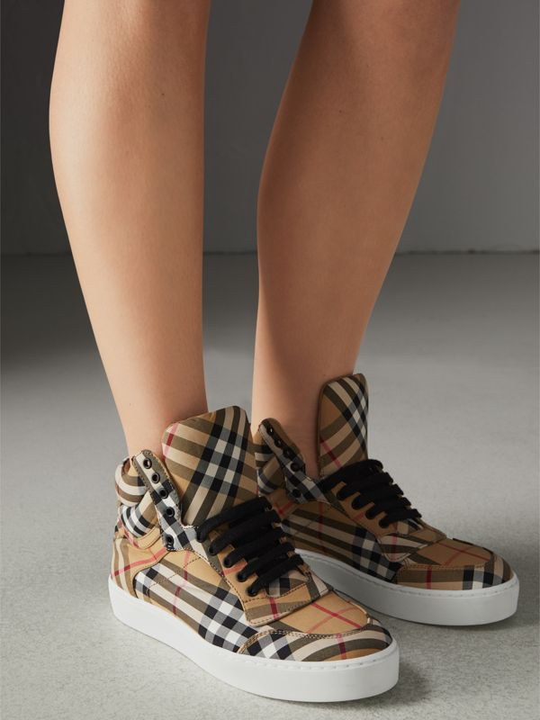 Vintage Check Cotton High-top Sneakers in Antique Yellow - Women | Burberry Singapore - cell image 2