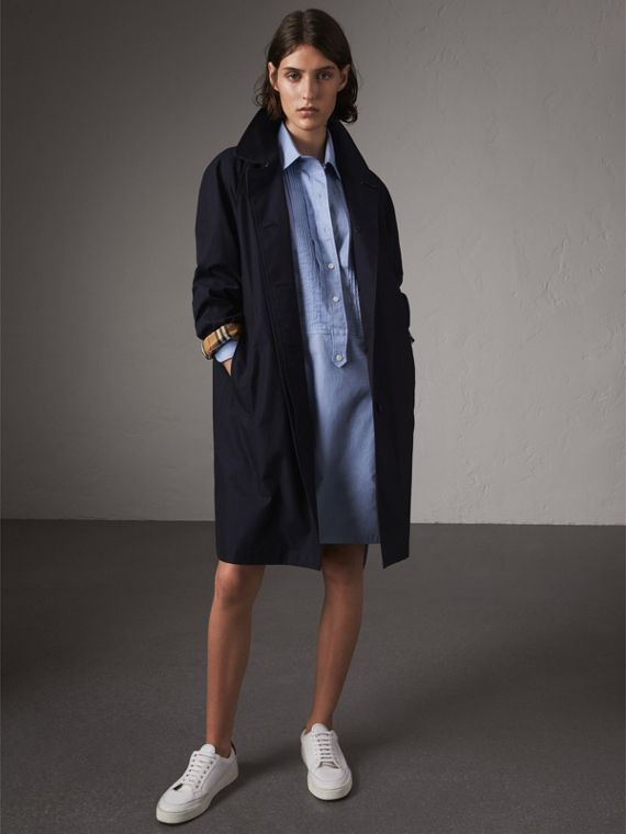 The Camden – Long Car Coat in Blue Carbon